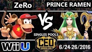 CEO 2016 Smash 4 - TSM | Zero (Diddy Kong) Vs. Prince Ramen (Palutena) SSB4 Tournament - Smash Wii U