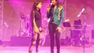 12 yr old Harveen singing with Shreya Ghoshal on stage in austin TX aug 10, 2014