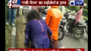 Drunk girls s fighting with police in Chandigarh