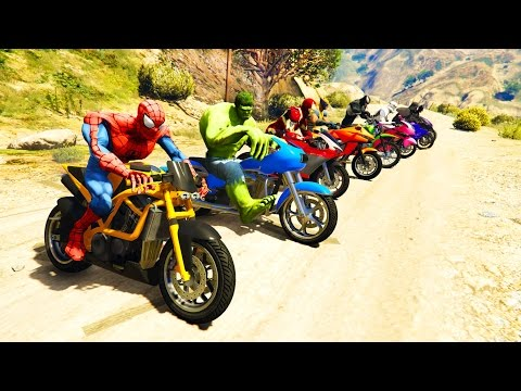 Xxx Mp4 COLOR MotorCycles Jumping In Grand Canyon With Superheroes Cartoon Video For Kids 3gp Sex