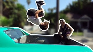 Backflip In A Moving Car!