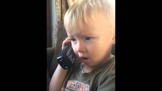 Funny Cute Phone Conversation Toddler Boy Talking on Telephone Hilarious