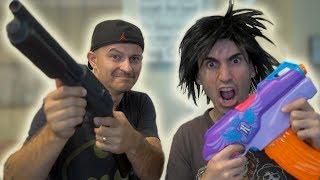 NERF WAR: SHOTGUN vs NERF GUN!