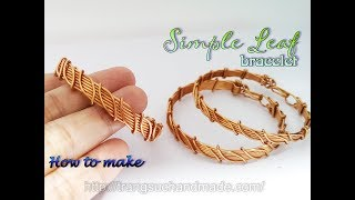 Leaf bracelet - Nature jewelry set - simple jewelry making from copper wire 395