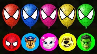 Balloons Blasting Spiderman Angela Paw Patrol Hulk Finger Family Colors Learn