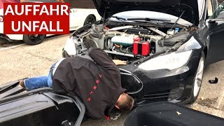 Tesla Model S Auffahrunfall + Problem Mit Kühlflüssigkeit