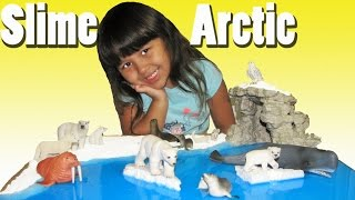 How To Make Slime and Grow Snow Arctic Scenery DIY with Animal Toys
