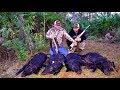Wild Boar Ambush! 4 Giant Hogs!!!{Catch Clean Cook} Filipino Style
