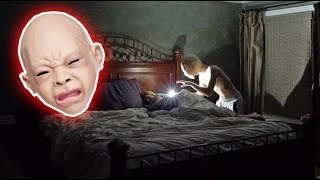 BABY MASK SCARE PRANK ON SLEEPING MOM! *SHE CRIED*