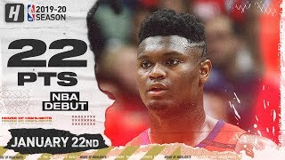 Zion Williamson NBA DEBUT 22 Pts Full Highlights   Spurs vs Pelicans   January 22, 2020