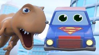DINOSAUR vs SUPERHERO CAR DESTROY THE CITY CARTOON