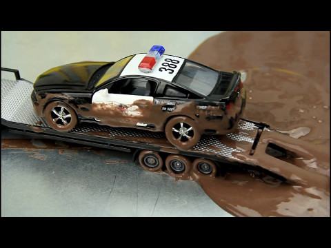 Police Cars vs Street Racer The Police Cars Stuck in the Mud & Car Wash Video For Kids