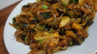 Brinjal Fry Recipe  - Eggplant & Onion Dry Indian Curry