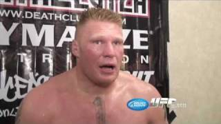 Brock Lesnar post fight interview after destroying Mir!