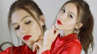 Yeni Yıl Makyajı | Kırmızı Simli Dudak