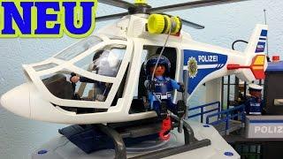 Playmobil Polizei Helikopter mit LED Scheinwerfer auspacken seratus1 Neuheit 2016