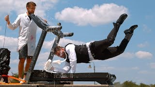 Falling on a Moving Treadmill in Slow Mo - The Slow Mo Guys