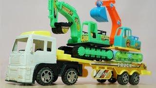 รถบรรทุกเทเลอร์ขนส่งรถแม็คโคร รถของเล่น  Cars Transportation by Truck Video for Kids