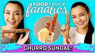 CHURRO ICE CREAM SUNDAE CHALLENGE?! | Food Truck Fanatics w/ Merrell Twins