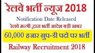Railway Recruitment Group D 60000 Vacancies Notification 2018 || Railway Vacancy 2018