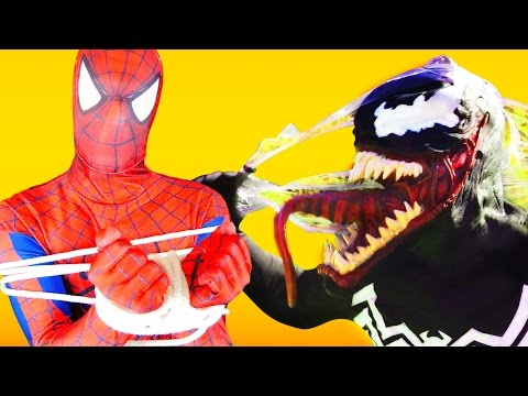 Spiderman gets tied up with a bomb by Venom w Frozen Elsa Superheroes In Real Life