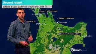 NIWA Weather Quickcast 23 June: Crazy Mid-winter Warmth