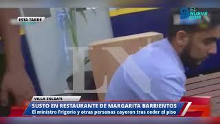 El momento en que se desploma un escenario mientras Frigerio inauguraba un restaurante