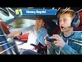 LITTLE BROTHER PLAYS FORTNITE IN SUPERCAR at 100MPH CHALLENGE! *DANGEROUS*