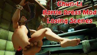 Chun-Li Battle Dress losing scenes! | Chun-Li barefoot Mod | Street Fighter V barefoot losing scenes