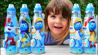 Kids Smurfs surprise drinks with surprise eggs capsules for Kids Childrens Toddlers