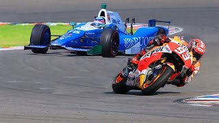 Marc Marquez MotoGP Bike vs FORMULA F1 Indy Race Car