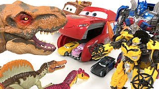 Horrible Dinosaurs appeared!! Transformers 5 Optimus Prime, Bublebee! Rescue Cars 3!! - DuDuPopTOY