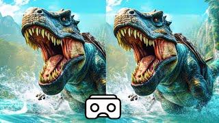 Dinosaur VR VIDEO 3D Split Screen for Virtual Reality VR BOX 3D not 360 VR