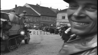 People cheer as soldiers of the 4th Armored Division pass through streets in Czec...HD Stock Footage