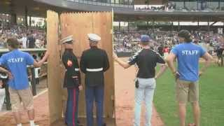 Two Marines Surprise Their Mothers During Saints Game