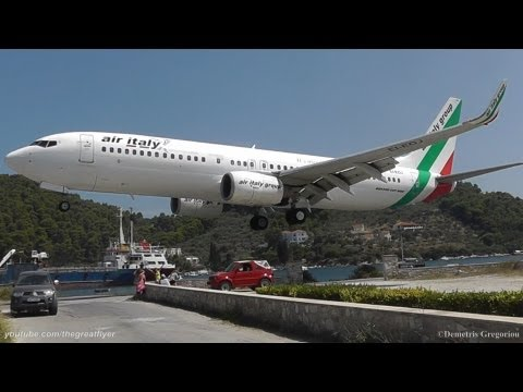 LOWEST 737 LANDING EVER Skiathos the second St Maarten Air Italy 737 8BK crazy pilot
