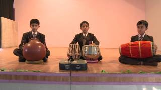 School kids performing live with tabla and traditional instruments