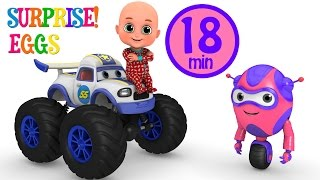 Kids Toys - White Monster Truck Racing adventure | Surprise Eggs gift box unboxing from Jugnu Kids