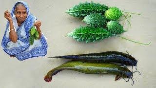 Farm Fresh Karela and Paka Singi Fish Recipe prepared by Grandmother | Village Food