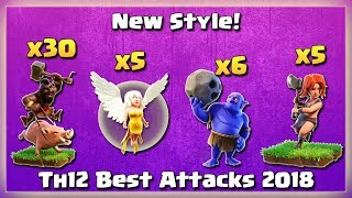 Th12 New STYLE! 30 HOGS+ 5 HEALER+ 6 BOWLER+ 5 VALKS | TH12 War Strategy #54 | COC 2018 |