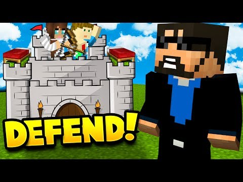 MY WIFE AND SON DEFEND THE CASTLE IN MINECRAFT BED WARS!!