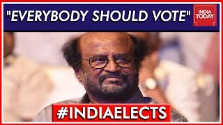 """After Casting His Vote, Rajinikanth: """"Everybody Should Vote"""" 
