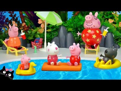 Peppa Pig va a la Piscina del Parque Acuatico de Playmobil Juguetes de Peppa Pig