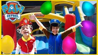 Easter Egg HUNT SURPRISE TOYS CHALLENGE Paw Patrol Toys Inflatable Castle Slide Disney Cars Toys