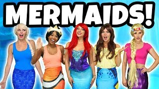 DISNEY PRINCESS MERMAIDS. (Ariel, Rapunzel, Tiana, Belle, and Ursula at Elsa at Ariel's Birthday)
