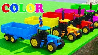 LEARN COLOR with Tractor on BUS w Spiderman Superheroes for Children Cars Cartoon for Kids