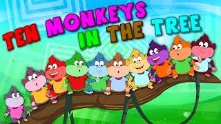 Ten Monkeys In The Tree | Kindergarten Nursery Rhymes For Children | Cartoons For Babies by Kids tv