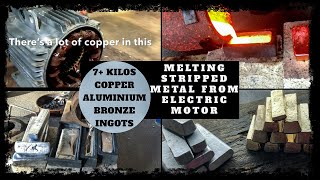 Trash To Treasure - Scrap Bin Electric Motor Melt Down into Bulk Ingots Copper & Aluminium Melting