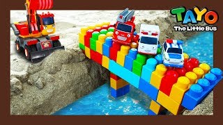 Save fire truck Frank and build block bridge! l Tayo Heavy Vehicles Squad S2 l Tayo the little bus