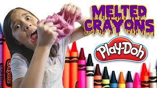 MELTING CRAYONS INTO PLAY DOH! How To DIY with Jillian!
